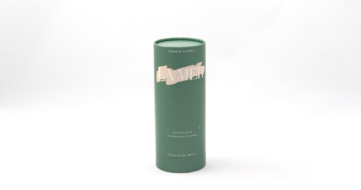 environmentally friendly out paper tube packaging for luxury serum by la mer