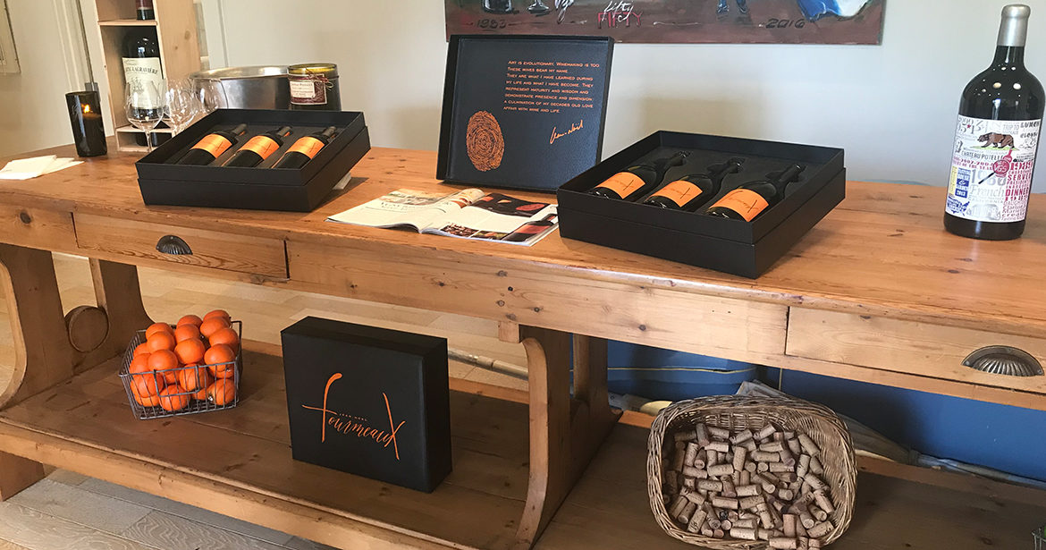 This image showcases a custom vegan leather box with the decoration manufactured by Big Sky Packaging for Jean Noel Formeaux.