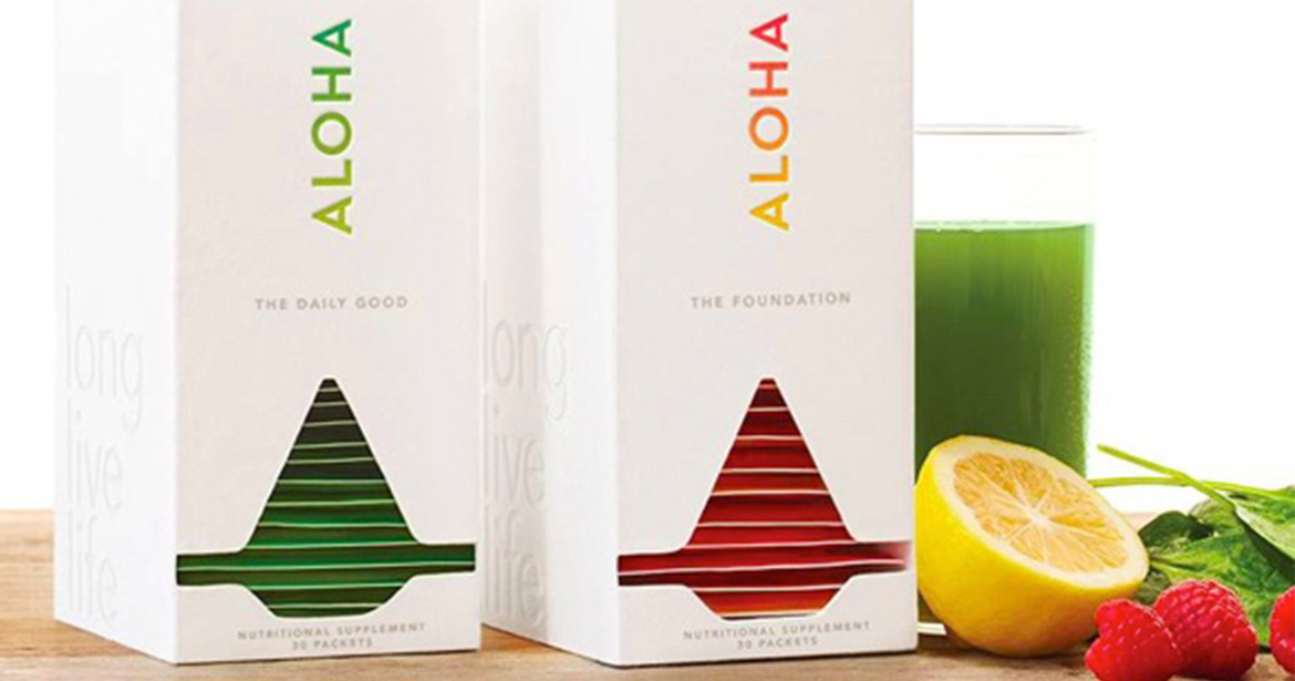 Aloha's custom secondary packaging and packettes.