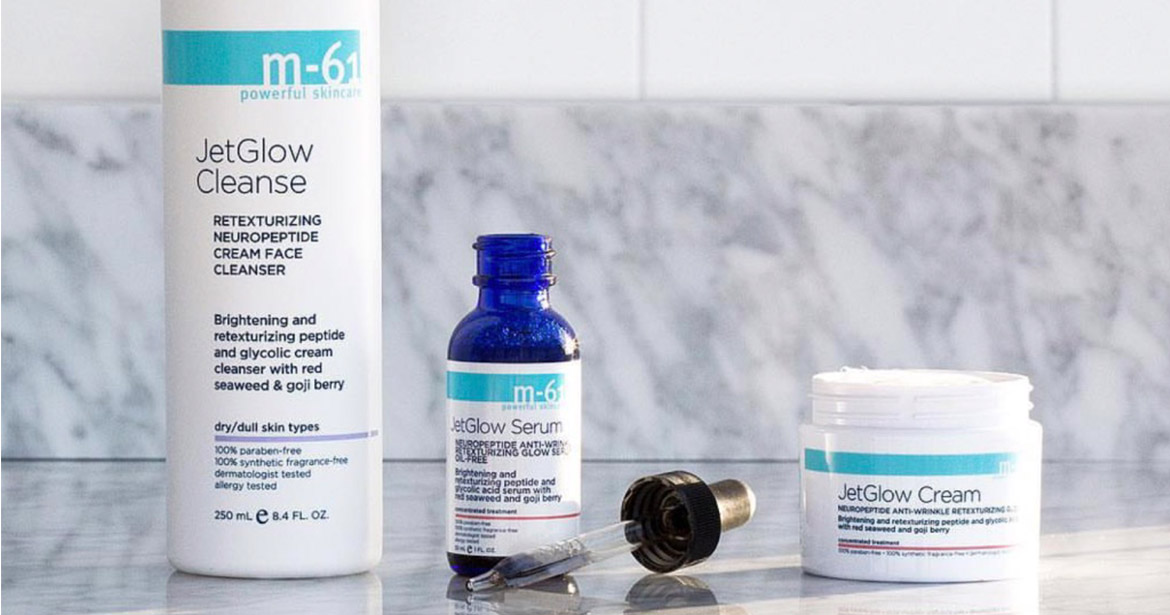 Examples of skincare packaging that can be used for CBD. The image shows a bottle, a jar and a dropper for M-61.