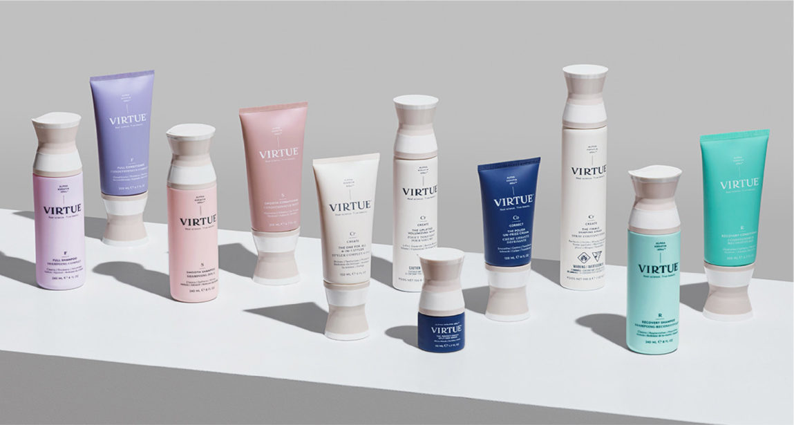 stunning custom packaging for virtue haircare by big sky packaging