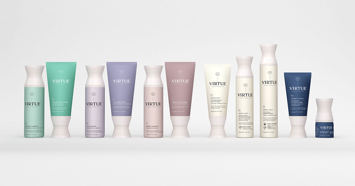 custom hair care product line with soft touch finish and bi-injection molding