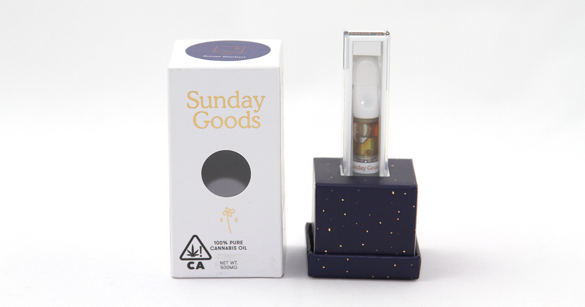 beautiful example of Sunday Goods cannabis and cbd vape pens in custom packaging