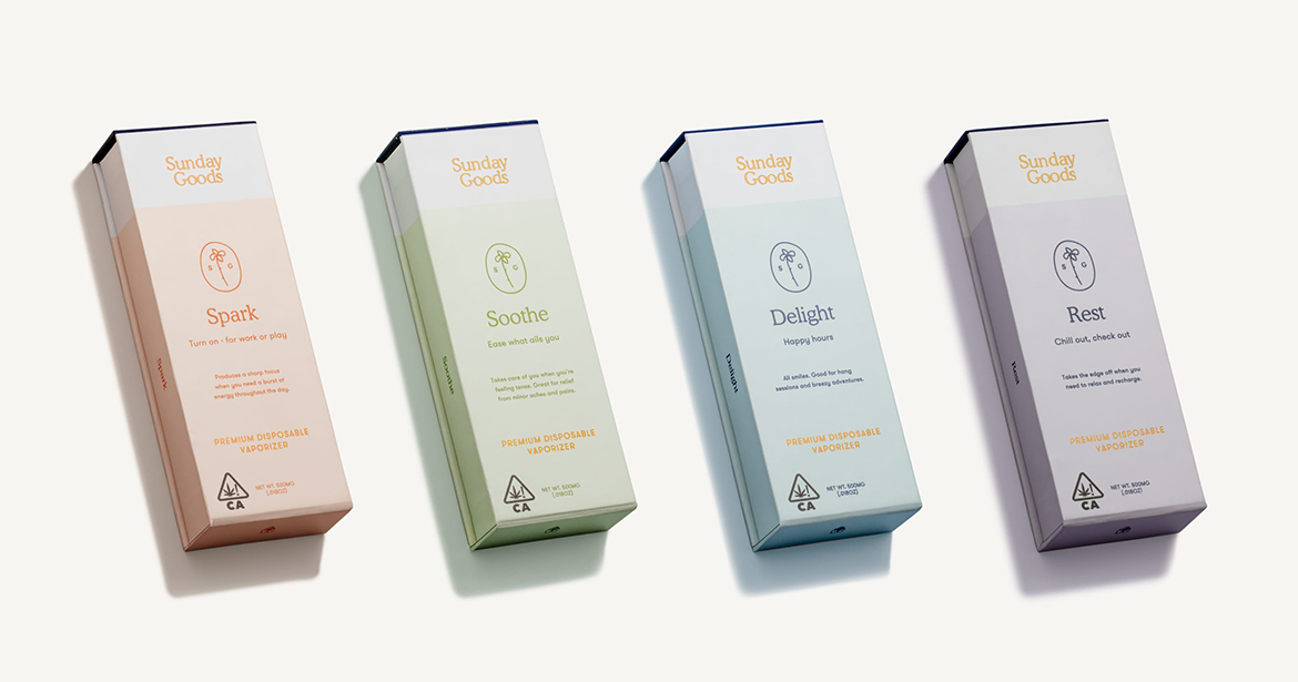 beautiful example of Sunday Goods cannabis and cbd products in custom packaging